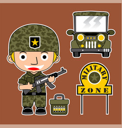Soldier cartoon with a military jeep vector