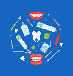 stomatological tools round shape dental care vector image
