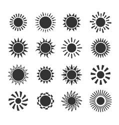 sun flat icon set on white background vector image