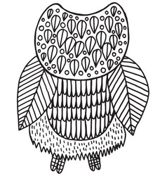 Surreal floral owl coloring page vector