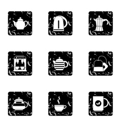 Tea icons set grunge style vector