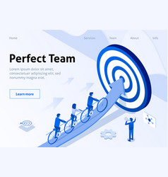 Team movement to goal in tandem isometric banner vector