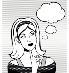 Thinking woman looking up Hand drawn vector