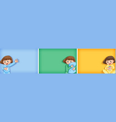 three backgrounds with girl in pajamas vector image