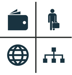 Trade icons set collection of earth work man vector