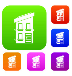 Two-storey house set collection vector