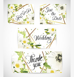 Wedding floral template invite vector