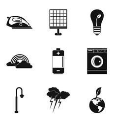 Wind turbine icons set simple style vector