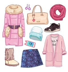 Winter Fashion Woman Icon Set vector image
