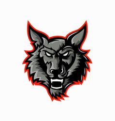 wolf logo mascot design for esports team vector image