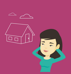 Woman dreaming about buying new house vector