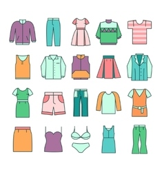 Women clothing icons in flat line style vector image vector image