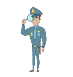 Young hispanic detective with magnifying glass vector