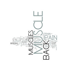 Z back muscle pain text word cloud concept vector