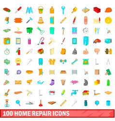 100 home repair icons set cartoon style vector image vector image