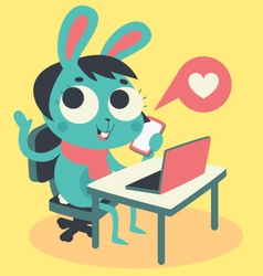 Cute Bunny Girl at Computer and Phone vector image vector image