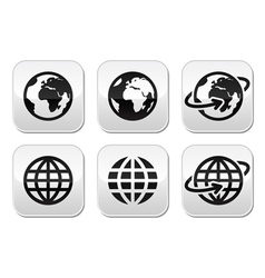 Globe earth buttons set vector image vector image
