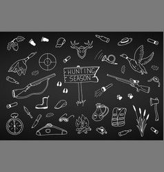 hunting season collection in doodle stylehand vector image
