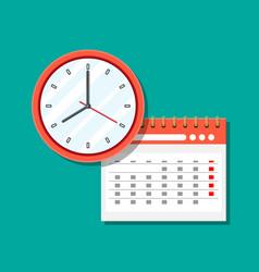 paper spiral wall calendar and clocks vector image