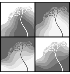 Set of with stylized tree vector image vector image