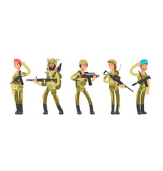 us army cartoon man and woman soldiers in uniform vector image