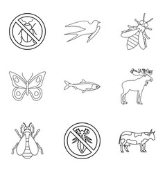 animal kingdom icons set outline style vector image vector image