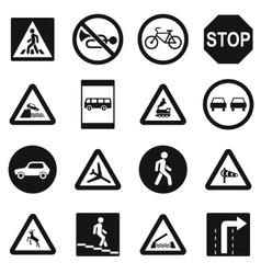 Road Sign Set icons simple style vector image