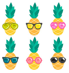 Set of pineapples with sunglasses vector