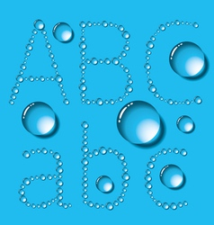 Water Drop Letters On Blue New 01 vector image