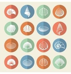 White sea shells icons set vector
