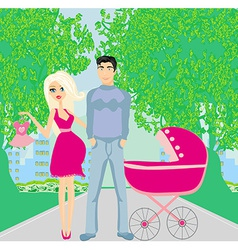 beautiful pregnant woman and her happy husband vector image vector image