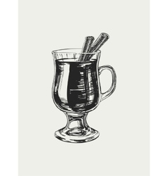 Mulled Wine Hand Drawn Drink vector image