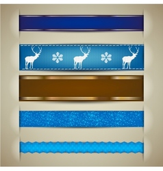Nordic Christmas Ribbon Banners vector image vector image