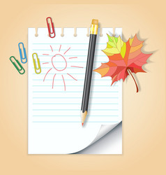 School notepad with pencil vector image