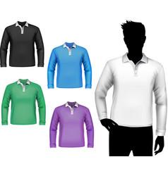 T-shirts male polo long sleeve set vector image