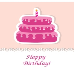 Birthday card with cute cake and candle vector image vector image