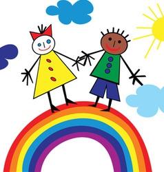 child rainbow vector image vector image