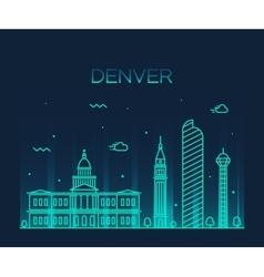 Denver skyline trendy linear vector image