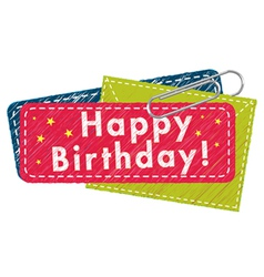 happy birthday greeting tag vector image vector image