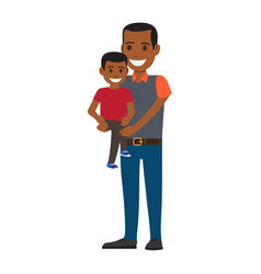 happy black man holding his little son to hands vector image