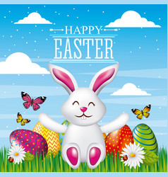 happy easter card cute rabbit sitting with bright vector image