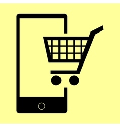 Shoping on smart phone sign vector image vector image