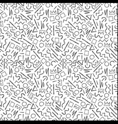 sketch handdrawn seamless pattern memphis style vector image vector image