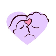 Two faces kissing vector image vector image