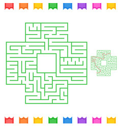abstract square isolated labyrinth green color on vector image