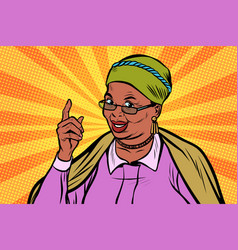African elderly woman pointing finger up vector