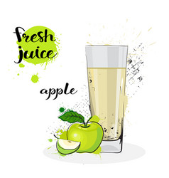 apple juice fresh hand drawn watercolor fruit and vector image