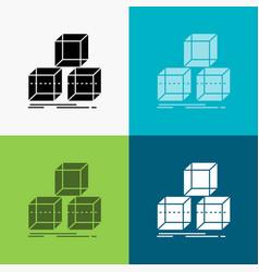 Arrange design stack 3d box icon over various vector