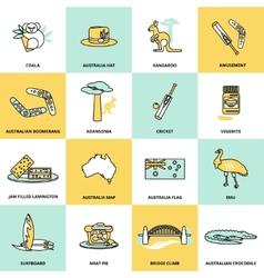 Australia Icons Set Flat Line vector