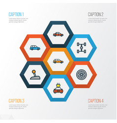 Automobile colorful outline icons set collection vector